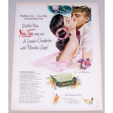 1949 Palmolive Soap Color Print Art Ad - Regardless Of Age