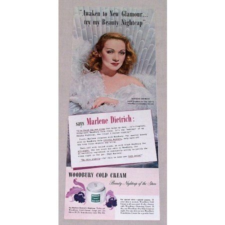 1942 Woodbury Cream Color Print Ad Celebrity Marlene Dietrich
