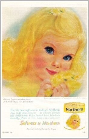 1962 Northern Pale Gold Bath Tissue Girl Art Color Print Ad