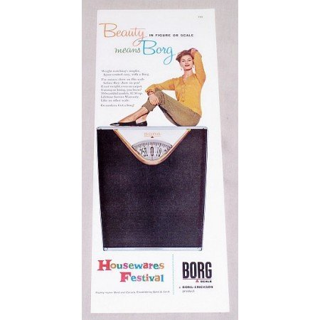 1960 Borg Weight Scales Color Print Ad - Beauty Means Borg