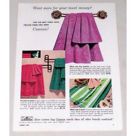 1953 Cannon Mills Bath Towels Color Print Ad