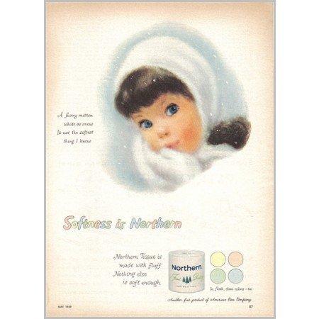 1959 Northern Bath Tissue Color Print Art Ad - Furry Mitten