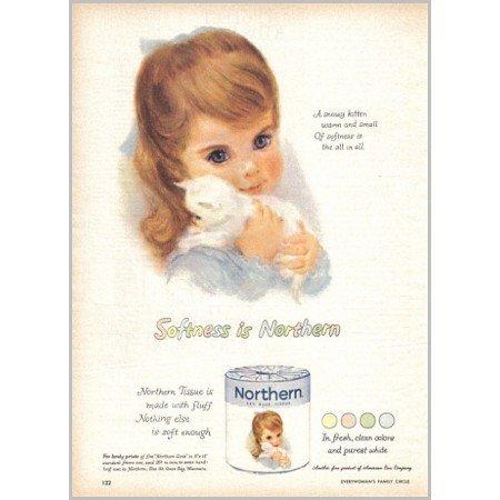 1959 Northern Bath Tissue Color Print Art Ad - Northern Girls
