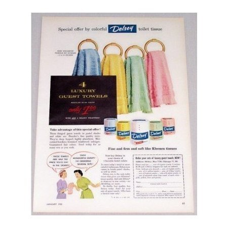 1955 Delsey Toilet Tissue Dundee Towel Offer Color Print Ad