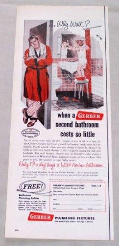 1953 Gerber Bathroom Plumbing Fixtures Color Print Art Ad