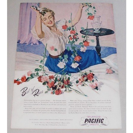 1948 Balanced Pacific Sheets Color Print Art Ad - Bed Of Roses