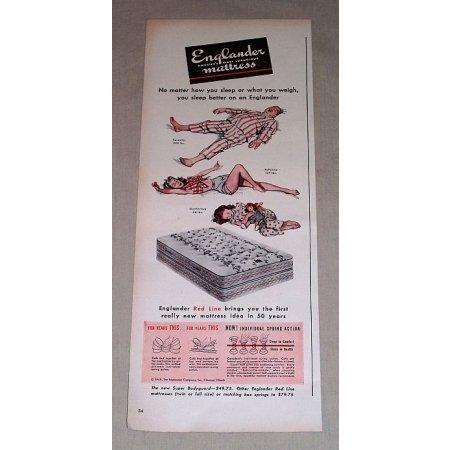 1949 Englander Red Line Mattress Color Art Vintage Print Ad