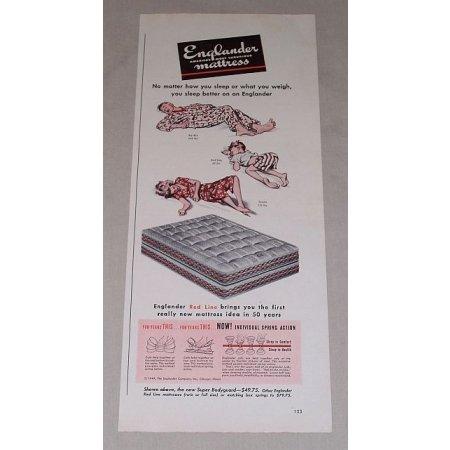 1949 Englander Red Line Mattress Color Print Art Ad