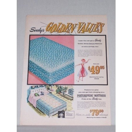 1958 Sealy's Golden Sleep Deluxe Mattress Color Print Ad