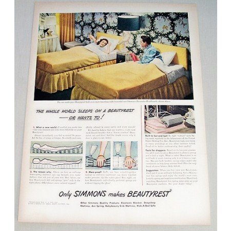1948 Simmons Beautyrest Mattress Color Print Ad