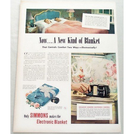 1947 Simmons Electronic Control Blanket Color Print Ad