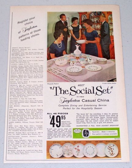 1960 Taylorton Casual China Rosemary Pattern Color Print Ad THE SOCIAL SET
