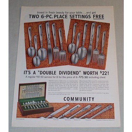 1957 Oneida Community Silverplate Flatware Color Print Ad