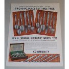 1957 Oneida Community Silverplate Flatware Color Print Ad