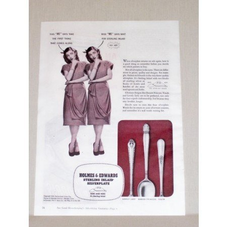 1945 Holmes Edwards Sterling Silverplate Flatware Color Print Ad