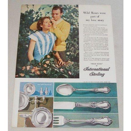 1948 International Sterling Wild Rose Flatware Color Print Ad