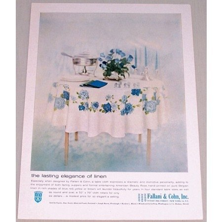 1962 Fallani Cohn Table Cloth Color Print Ad - Lasting Elegance