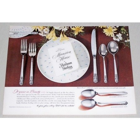 1950 Heirloom Sterling Mansion House Place Setting Color Print Ad