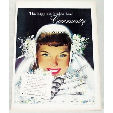 1948 Oneida Community Silverplate Flatware Wedding Art Color Print Ad