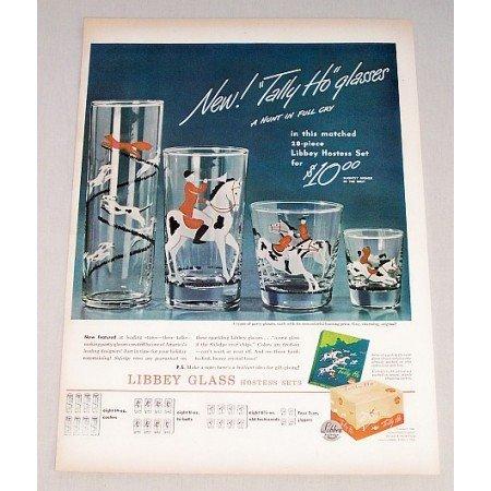 1946 Libbey Glass TALLY HO Hostess Glasses Set Color Print Ad