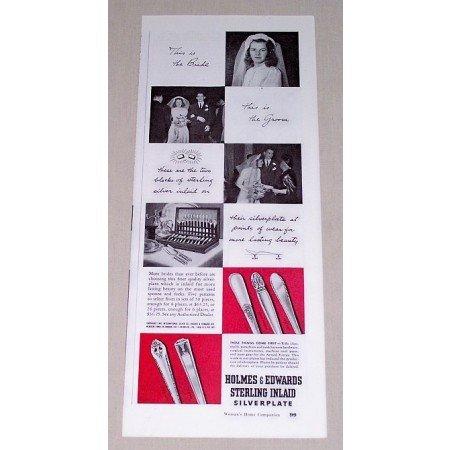 1942 Holmes & Edwards Sterling Silverplate Flatware Vintage Print Ad