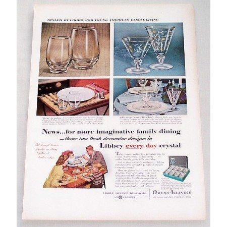 1956 Libbey Safedge Glassware Tempo Royal Fern Color Print Ad