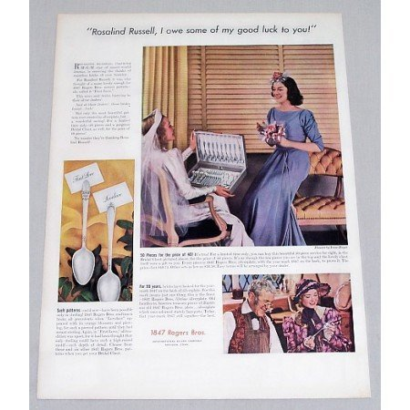 1938 Color Print Ad for 1847 Rogers Bros. Flatware Rosalind Russell