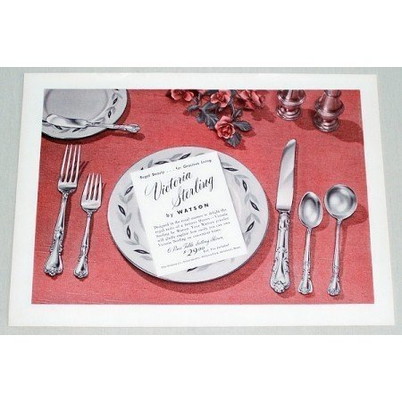 1953 Victoria Sterling By Watson Place Setting Color Print Ad