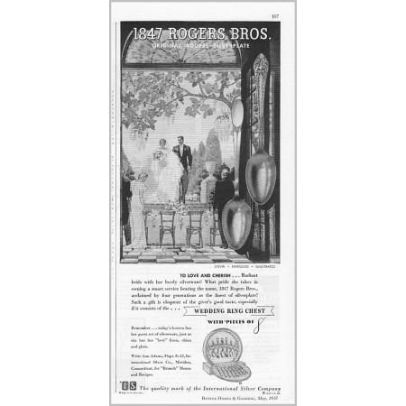 1935 Vintage Print Ad for 1847 Rogers Bros. Silverplate Flatware