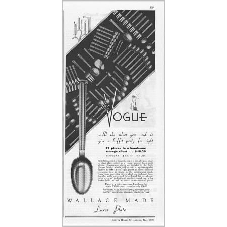 1935 Wallace Silversmiths Vogue Silverplate Flatware Vintage Print Ad