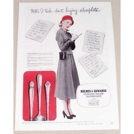 1948 Holmes Edwards Sterling Silverplate Flatware Color Print Ad