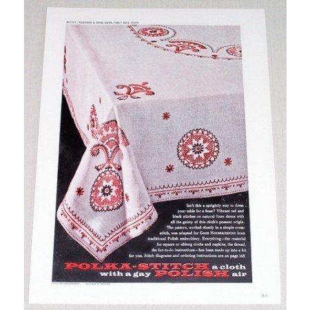 1961 Polka Stitch Tablecloth Color Print Ad