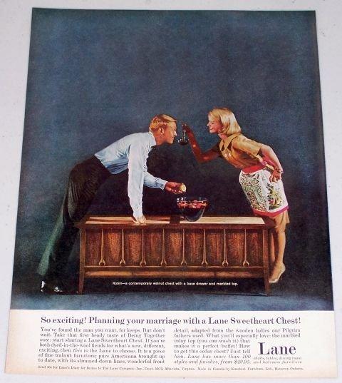 1960 Lane Robin Contemporary Walnut Chest Color Print Ad