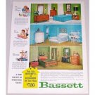 1961 Bassett Houseful Of Bedrooms Color Print Furniture Ad