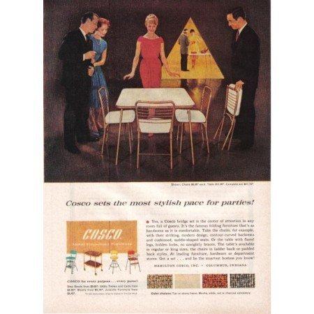 1960 Cosco Bridge Set Table Chairs Color Print Ad