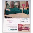 1953 Kroehler 60th Anniversary Living Room Furniture Color Print Ad