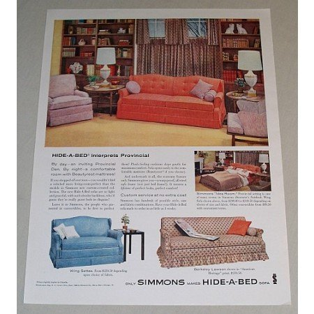 1958 Simmons Hide-A-Bed Sofa Color Print Ad