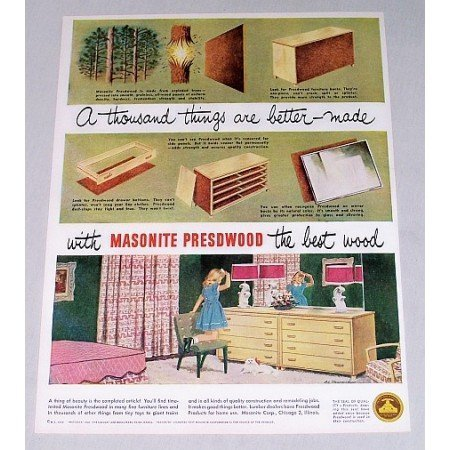 1949 Masonite Presdwood Furniture Color Print Ad