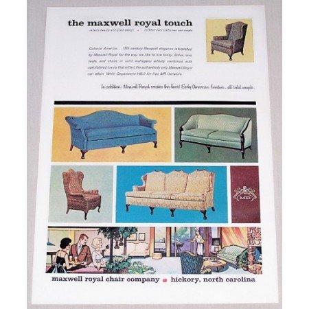 1962 Maxwell Royal Chair Company Color Print Ad