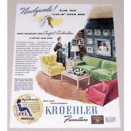 1945 Kroehler Living Room Furniture Color Print Ad - Newlyweds