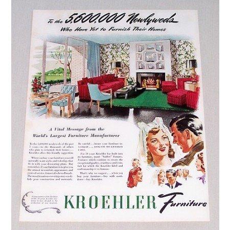 1944 Kroehler Furniture Color Print Ad - 5,600,000 Newlyweds