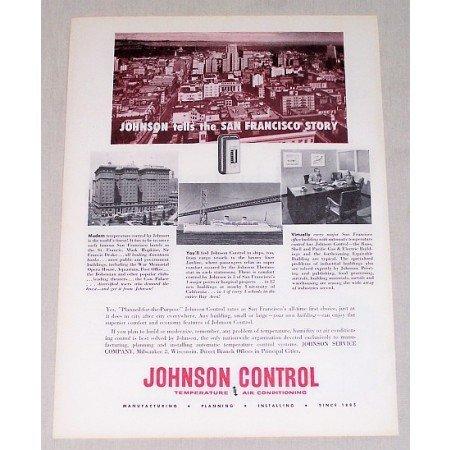 1954 Johnson Control Temp. Air Conditioning Vintage Print Ad San Francisco California