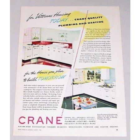 1946 Crane Plumbing Heating Color Print Ad