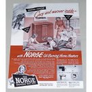 1943 Norge Oil Burning Home Heater Color Print Art Ad