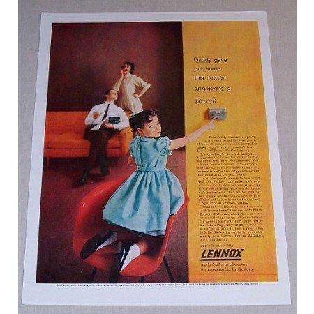1957 Lennox All-Season Air Conditioning Color Print Ad