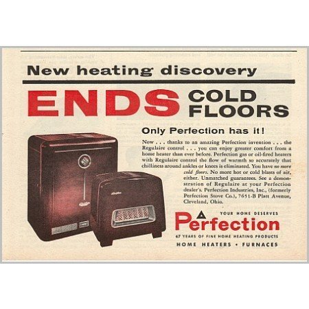 1955 Perfection Home Heaters Furnaces Color Print Ad