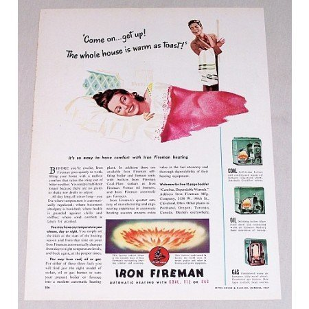 1947 Iron Fireman Automatic Heating Color Print Ad