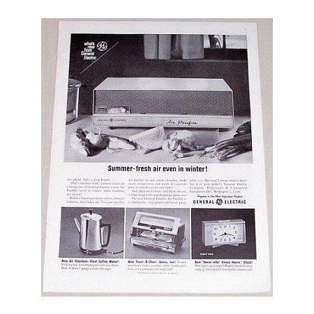 1962 General Electric Air Purifier Vintage Print Ad - Summer Fresh Air
