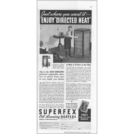 1935 Superfex Oil Burning Heaters Vintage Print Ad - Directed Heat