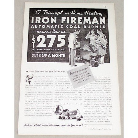1932 Iron Fireman Automatic Heating Coal Burner Vintage Print Ad